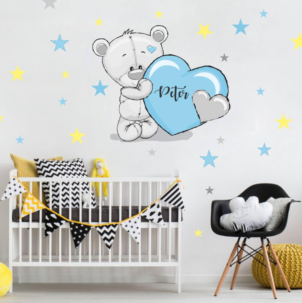 Aufkleber Grau Teddybär Mit Blaue Und Gelbe Sterne
